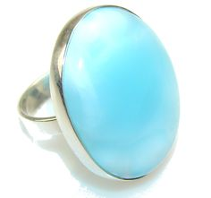 Amazing Color Of Blue Larimar Sterling Silver Ring s. 9 - 15.60g | $110.15 best price at Silver Rush Style!