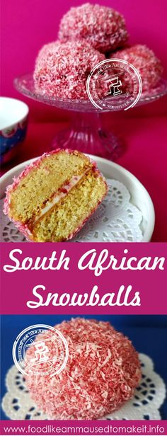 South African Snowballs are jam and icing sandwiched treats, coated in  pink coconut. A popular childhood treat for most  growing up in the 1980's. We mostly had them as Diwali treats.  #southafricansnowballs;#snowballrecipe;#pinksnowballrecipe;egglesssnowballrecipe;safooides;#safoodbloggers;#sarecipes;#durbanrecipes;#durbanfood;#pinksnowball;#snowballsrecipe Bread Recipes, Baking Recipes, Cake Recipes, Pink Snowballs Recipe, South African Recipes, Indian Food Recipes, Best Vanilla Cake Recipe, Yummy Treats, Sweet Treats