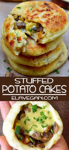 Stuffed Potato Cakes - These vegan potato cakes are stuffed with mushrooms, veggies, and vegan cheese. This amazing comfor - Stuffed Potato Cakes - These vegan potato cakes are stuffed with mushrooms, veggies, and vegan cheese. This amazing comfor - Gluten Free Appetizers, Gluten Free Snacks, Gluten Free Cakes, Foods With Gluten, Vegan Gluten Free, Vegetarian Gluten Free Recipes For Dinner, Easy Recipes For Lunch, Dairy Free Lunches, Dairy Free Foods