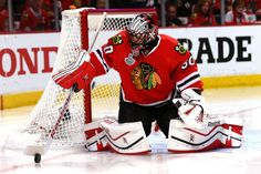 CHICAGO, IL - JUNE 10: Corey Crawford #50 of the Chicago Blackhawks makes a save against the Tampa Bay Lightning during Game Four of the 2015 NHL Stanley Cup Final at the United Center on June 10, 2015 in Chicago, Illinois. (Photo by Bruce Bennett/Getty Images)