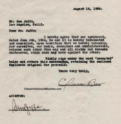Clara Bow signed 1926 movie contract