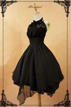 Aliexpress.com : Buy Gothic Sleeveless Lolita Dress Irregular Hem Halter Neck Midi Dress with Criss Cross Back by Neverland from Reliable neverland lolita suppliers on LoliGals Lolita Store