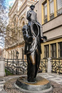 In the Jewish section of town, you can find Jaroslav Rona's sculpture, a memorial to Franz Kafka. It is in the neighborhood where the Jewish writer lived for most of his life. Prague, Czech Republic