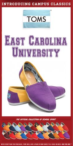 7455ea1abb6 TOMS Shoes East Carolina University Campus Classics - One for One Tom Love