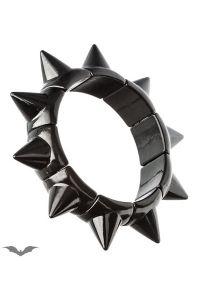 Queen of Darkness - Kunststoff Armband mit Killernieten - schwarz