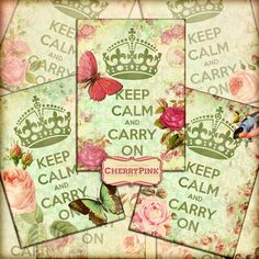 VINTAGE KEEP CALM digital paper collage sheet by CherryPinkPrints