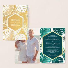 Gold Foil Teal Green Monstera Wedding Invitation Teal Wedding Invitations, Zazzle Invitations, Gold Paper, Destin Beach, Teal Green, Gold Foil, Cards, Maps, Playing Cards