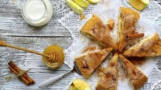 Serve Rachel Allens buttery apple and cinnamon cake on its own with a cup of coffee - or as a dessert with softly whipped cream