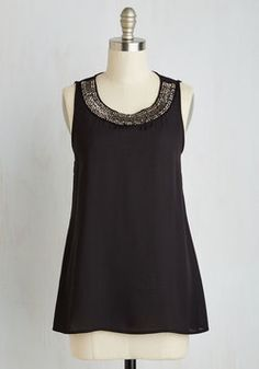 MINE!!! A La Modish Top. As dinner comes to an end, you confidently order dessert for two in this black tank. #black #modcloth