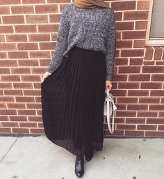 Grey knits and black long skirt (@modestlifestyleblog on Instagram)