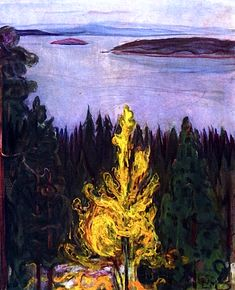 1958 Tipped-In Print Edvard Munch From Nordstrand Landscape Water Forest Art Edvard Munch, Great Paintings, Landscape Paintings, Landscapes, Hansel Y Gretel, Amedeo Modigliani, Expressionist Artists, Forest Art, Post Impressionism