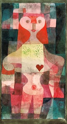 Herzdame (Queen of Hearts), aquarelle on tinted paper (1922), by Paul Klee
