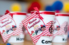 Favor cups at a Little Einsteins Party.  See more party ideas at CatchMyParty.com.  #littleeinsteins #partyideas