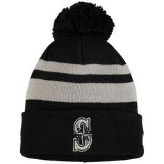 7b91190c01c Men s Seattle Mariners New Era Black Double Stripe Cuffed Knit Hat With Pom
