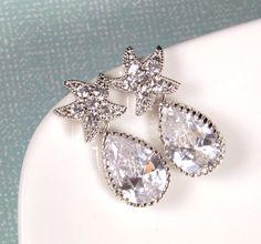 Star Crystal Earrings Teardrop Bridal Wedding Cubic Zircoina Bridesmaids Party Beach