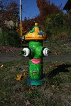 painted fire hydrant.. so on purpse, but still funny :)  Sure wish I could do this to the one in front of my house!