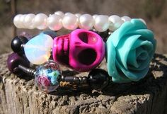 Day of the Dead Bracelet Sugar Skull Wrap Around Blue Rose Pink SkuLL Crystals