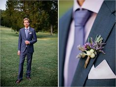 blue and lavender groom #lavenderwedding #purplewedding #weddingchicks http://www.weddingchicks.com/2014/01/01/lavender-wedding-2/