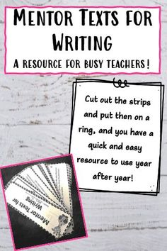 One of the best ways to create strong writers is to show them examples of strong writing! Turn these sorted mentor texts into a quick and easy resource for you to find mentor texts for whatever writing skill you are teaching on any given day. This resource provides over 50 mentor texts and how to use each one to to teach writing in your classroom!