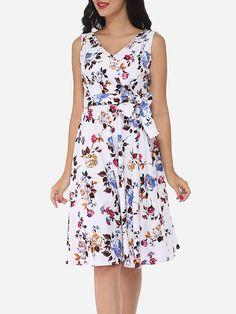 Floral Printed Bowknot Designed V Neck Skater-dress