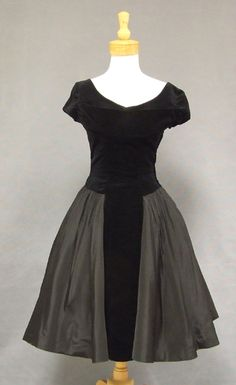 Black Taffeta & Velveteen 1950's Cocktail Dress