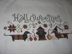 HALLOWEENIES Halloween Dachshunds Finished Cross Stitch