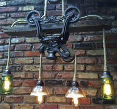Industrial Light Rustic Chandelier Lighting Cast Iron Hay Trolley Farm Barn Steampunk Ceiling - All For Decoration Rustic Chandelier Lighting, Retro Lighting, Chandelier Lamp, Cool Lighting, Contemporary Chandelier, Accent Lighting, Lighting Ideas, Chandeliers, Industrial Light Fixtures