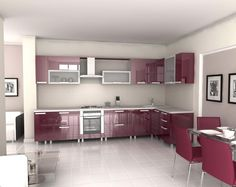 Interior, Attractive Kitchen Interior Design With L Shaped Red Lacquered Kitchen Cabinet With Built In Stove And Oven L Shaped Red Lacquered Wall Cabinet With Kitchen Hood White Ceramic Tile Floor Glass Dining Table With Red Chairs: Perfect and Ideal Kitchen Interior Design Ideas