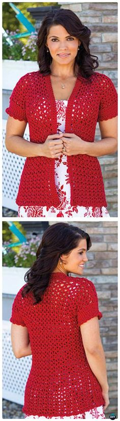Crochet Summer Jacket Free Pattern - Crochet Women Sweater Coat-Cardigan Free Patterns