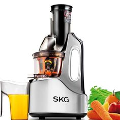 Buy this SKG Wide Chute Anti-Oxidation Slow Masticating Juicer AC Motor, 60 RPMs, Big Mouth) - Vertical Masticating Cold Press Juicer with deep discounted price online today. Healthy Juices, Healthy Smoothies, Best Masticating Juicer, Best Juicer Machine, Juicer Reviews, Centrifugal Juicer, Cold Press Juicer, Juice Extractor, Eating Raw