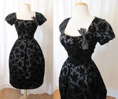 Beautiful 1950's Black Cut Velvet Cocktail Holiday by wearitagain, $175.00 Vintage Dresses, Vintage Outfits, Vintage Fashion, Vintage Clothing, Holiday Party Dresses, Fashion Sewing, Black Silk, Fashion History, Timeless Fashion