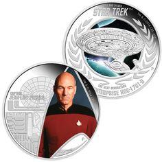 TUVALU 2015  2 x 1 $ Dollar - Star Trek - Set (2.) - USS Enterprise + Captain Picard - 2 x 1 Oz. Silver Proof Coin in Color - in Single Boxes. TUVALU 2015  2 x 1 $ Dollar - Star Trek - Satz (2.) - USS Enterprise + Captain Picard - 2 x 1 Oz. Silber Farbe in Polierter Platte - Lieferung in Einzelboxen.