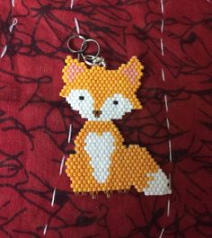 Excited to share this item from my shop: Sassy fox beaded keychain Peyote Beading Patterns, Fuse Bead Patterns, Beaded Jewelry Patterns, Cross Stitch Patterns, Fuse Beads, Perler Beads, Seed Beads, Brick Stitch Earrings, Native American Crafts