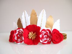 Christmas feather crown -  christmas crown/ white, red, gold, silver/ made to order