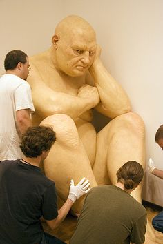 Ron Mueck.   These sculptures were featured at The Hirshhorn in D.C.  They are strangely fabulous.