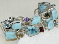 Larimar,Mixed Faceted Stones bracelet designed and created by Sizzling Silver. Please visit  www.sizzlingsilver.com. Product code: BR-8832