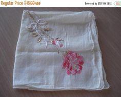 50% OFF SALE Vintage Hand Embroidered Pink Rose Hankie  Hanky