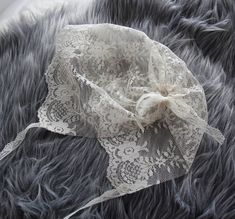 White or Ivory Lace Bonnet for Newborn by OhBabyPhotoProps on Etsy