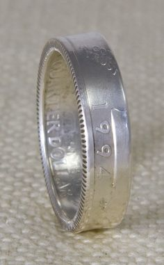 1994 90% Silver Washington US Quarter Dollar Double Sided 3D Coin Ring Wedding Band Sizes 3-13 20th Birthday 20 Year Anniversary Gift by NashvilleMint on Etsy https://www.etsy.com/listing/186915263/1994-90-silver-washington-us-quarter