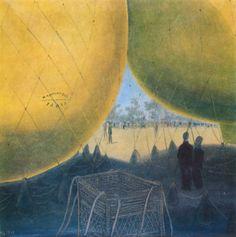 Kamil Lhoták - Stanoviště balónu 1940 Famous Artists, Art Paintings, Painting Art, Art Drawings