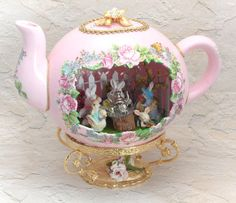 Lighted Teapot w/ Lively Bunny Tea Party inside Decorated Ostrich Egg, Hand Cut Ostrich Egg, Faberge Style Egg, Egg Ornament,