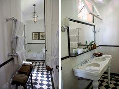 Salle de bains rétro carreaux noir et blanc