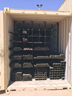 Organized Pipe Storage you can lock up. Pipe is expensive, you don't want it walking off. Steel Storage Rack, Steel Racks, Welding Cart, Welding Shop, Workshop Storage, Garage Workshop, Welding Works, Welding And Fabrication, Metal Working Tools