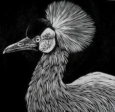 Crowned Crane Linocut Print.