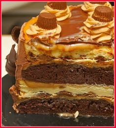 The Quadruple Layer Peanut Butter Chocolate Carmel Cheesecake