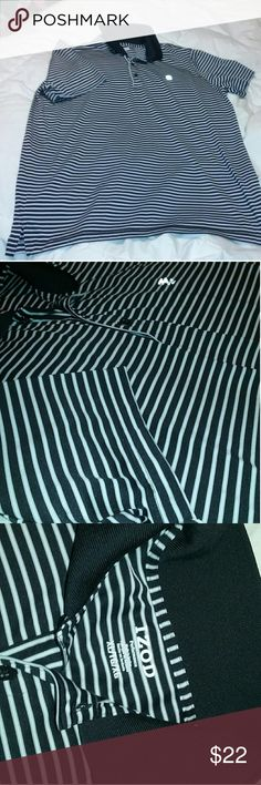 "Izod Performance Polo Shirt Athletic Men's XL Izod Performance Polo Shirt Athletic Men's XL Very good, clean condition. Short sleeve, athletic polo in black and white stripe. Great find!?  Approx measurements laid flat: chest 23"", length 30"". Izod Shirts"