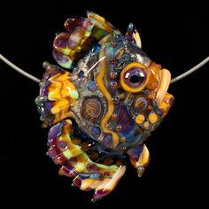Glass Lampworking Fish Bead - Peach  Purple Mosaic Angel Fish | PatsyEvinsStudio - Jewelry on ArtFire