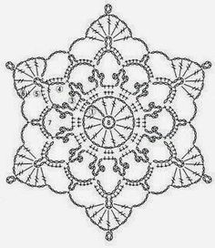 Ivelise Hand Made: Lacy Motif In Crochet Crochet Snowflake Pattern, Crotchet Patterns, Crochet Stars, Crochet Motifs, Crochet Snowflakes, Crochet Diagram, Doily Patterns, Thread Crochet, Crochet Stitches