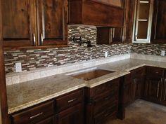 glass tile backsplash santa cecilia granite - Google Search