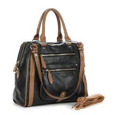 (FL000512) (Black) Vintage Easy-matching Contrast Color Female Handbag/first-layer Cowhide Packet/soft Leather Shoulder Messenger Bag [FL000...